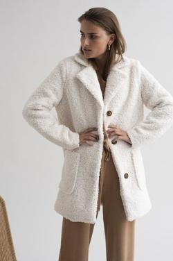 KAbalma Short Teddy Coat Hvit - Kaffe