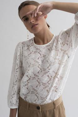 Kamolly lace blouse 3/4 sleeve Chalk - Kaffe