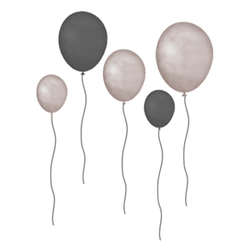 THAT´S MINE WALLSTICKER BALLONS GREY BROWN Grå - Thats Mine