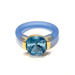 Ring Square Aquamarine Gold Blå - Twins Atelier