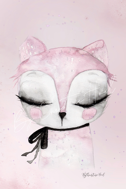 By Christine Hoel - Miniprints - 10x15 cm Pink Cat - Minicollection - 3 for 2 - By Christine Hoel