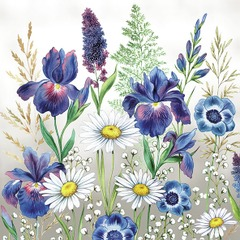 Napkin 33 Mixed Meadow Flowers Blank - Ambiente