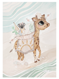 Beach Giraffe  Beach Giraffe - A4 - By Christine Hoel