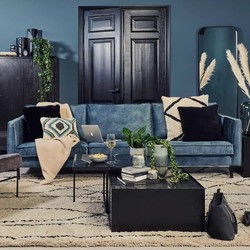 Perugia sofa 3-seter Vintage velvet Petroleum - Trend Collection