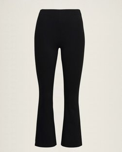 Cropped Flared Trousers Svart - byTiMo