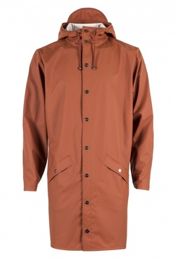 RAINS LONG JACKET RUST - RAINS