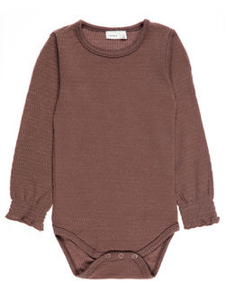 Nitwosa ull/silke body, baby Brun - Name It