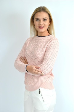STEEAM CABLEKNITTED SWEATER PINK - Steeam