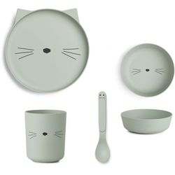 Spisesett i bambus Cat Dusty Mint - Liewood