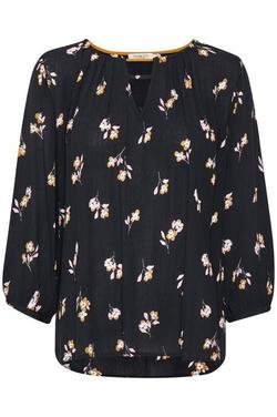 Sloane Blouse 3/4 Black whit small flowers. - Soaked in Luxury