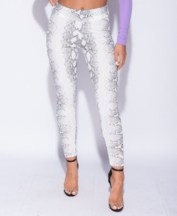 Snake print high waist leggings Flerfarget - Parisian