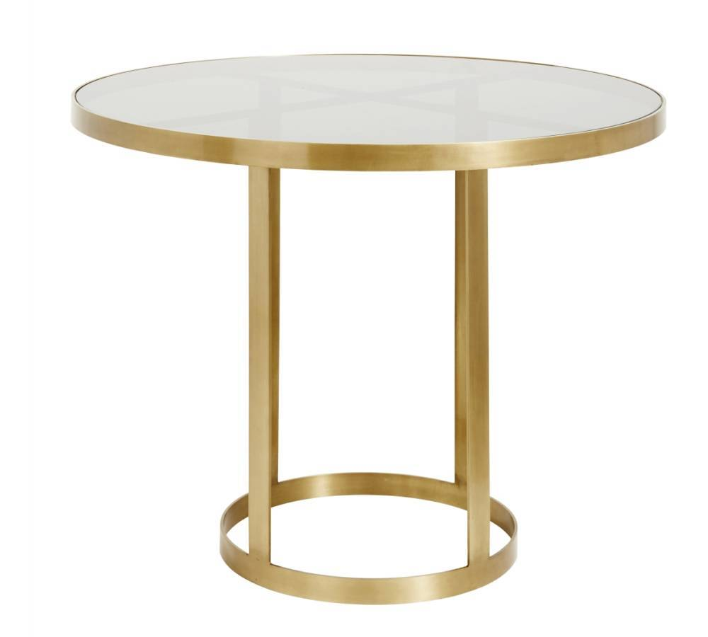 Round display table golden/black glass Gull - Nordal
