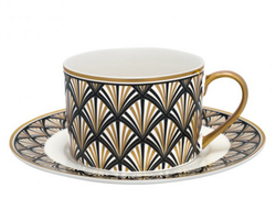Cup & saucer x2 Celine black - Green Gate