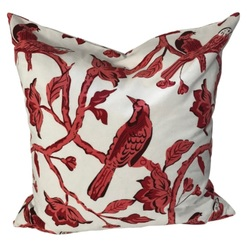 Cushion cover bird, 60x60 Hvit og rød - Mille Moi