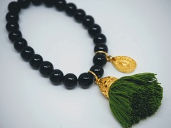 Gold Tassel Drop Bracelet Black Frond green - Isle&Tribe