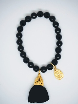 Gold Tassel Drop Bracelet Black black - Isle&Tribe