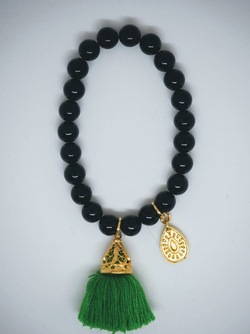 Gold Tassel Drop Bracelet Black Emerald green - Isle&Tribe