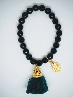 Gold Tassel Drop Bracelet Black Jade - Isle&Tribe