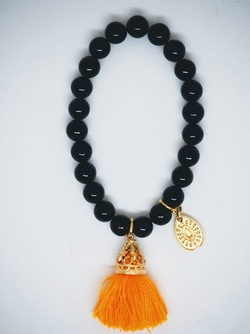 Gold Tassel Drop Bracelet Black Mango - Isle&Tribe
