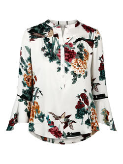 HAUST - Feminin printed blouse Lys med blomsterprint - Haust Collection